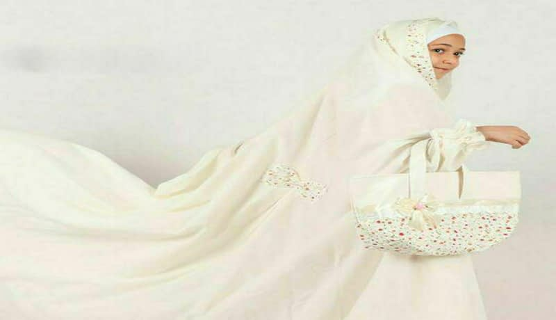 چادر نماز جشن تکلیف سفید تک رنگ