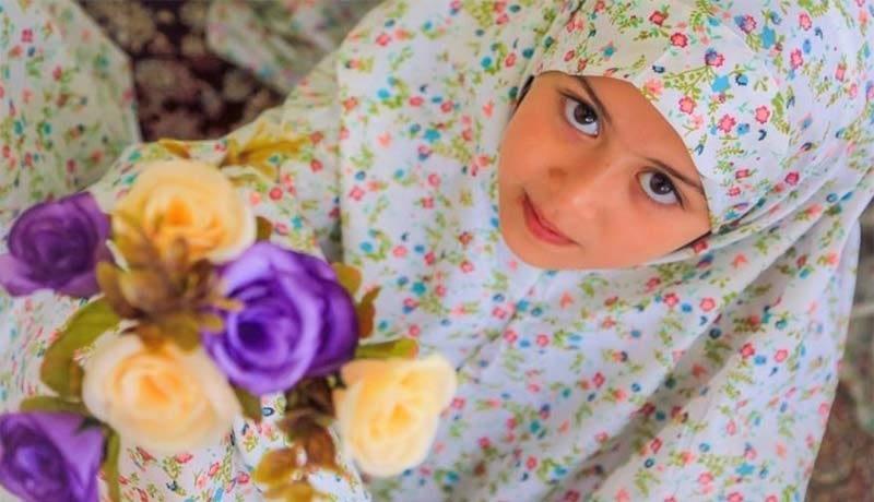 چادر نماز جشن تکلیف ساده گلدار